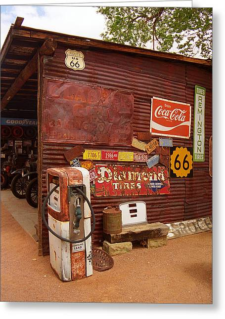 Historic Country Store Greeting Cards - Route 66 Garage and Pump Greeting Card by Frank Romeo