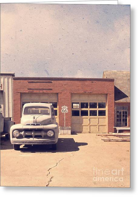Classic Pickup Greeting Cards - Route 66 Garage Greeting Card by Edward Fielding
