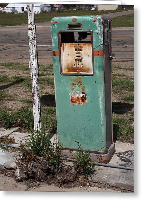 Out-of-date Greeting Cards - Route 66 Gas Pump - Adrian Texas Greeting Card by Frank Romeo