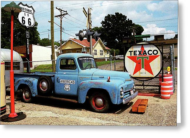 .freedom Mixed Media Greeting Cards - Route 66 - Gas Station with Watercolor Effect Greeting Card by Frank Romeo