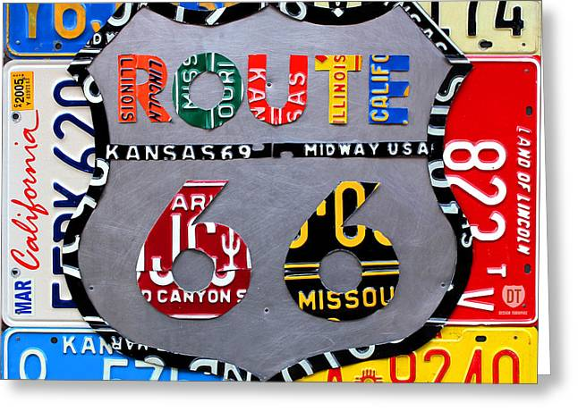 States Greeting Cards - Route 66 Highway Road Sign License Plate Art Greeting Card by Design Turnpike