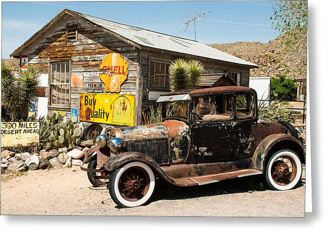 Geobob Greeting Cards - Route 66 Jalopy Hackberry Springs Arizona Greeting Card by Robert Ford