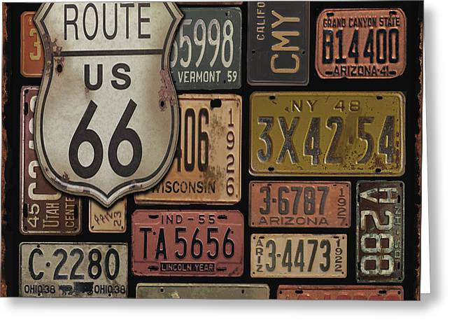 Old Signage Greeting Cards - Route 66 Greeting Card by Jean Plout
