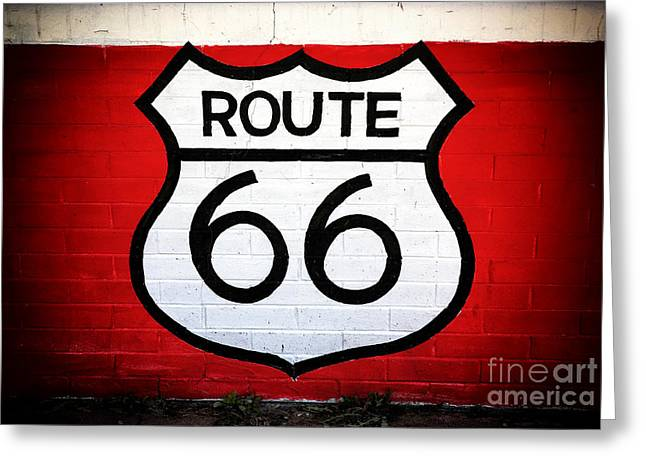 Red Buildings Greeting Cards - Route 66 Greeting Card by John Rizzuto