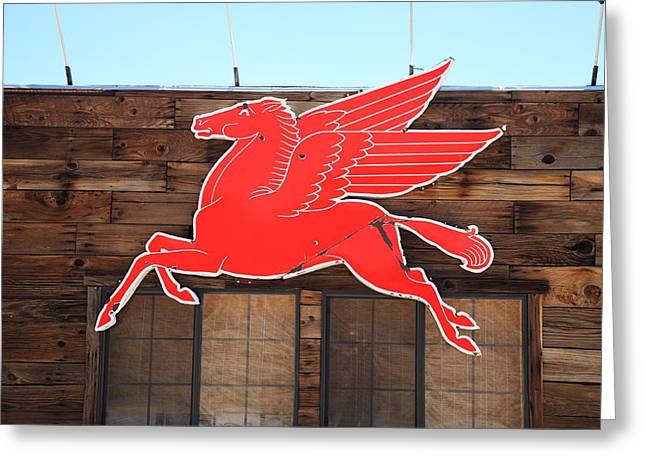 West Wing Greeting Cards - Route 66 - Mobil Pegasus Greeting Card by Frank Romeo