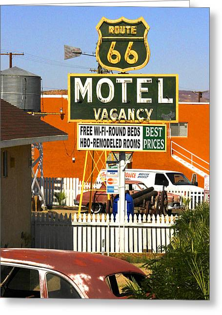 Route 66 Greeting Cards - Route 66 Motel - Barstow Greeting Card by Mike McGlothlen
