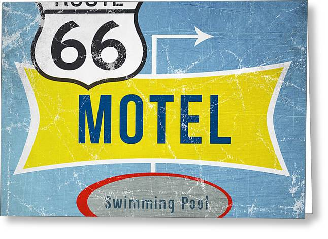 Road Trip Greeting Cards - Route 66 Motel Greeting Card by Linda Woods