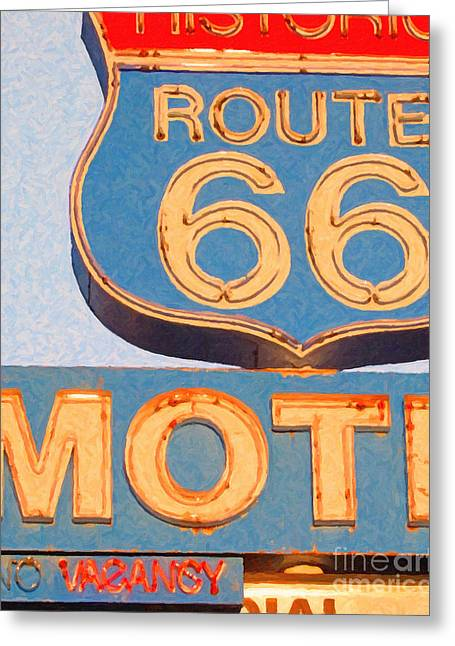 Route 66 Motel Sign Greeting Cards - Route 66 Motel Seligman Arizona Greeting Card by Wingsdomain Art and Photography