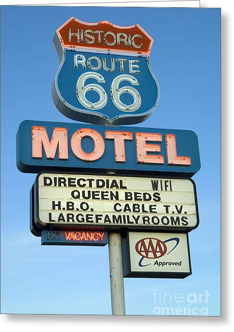 Sights Along Route 66 Greeting Cards - Route 66 Motel Sign 3 Greeting Card by Bob Christopher