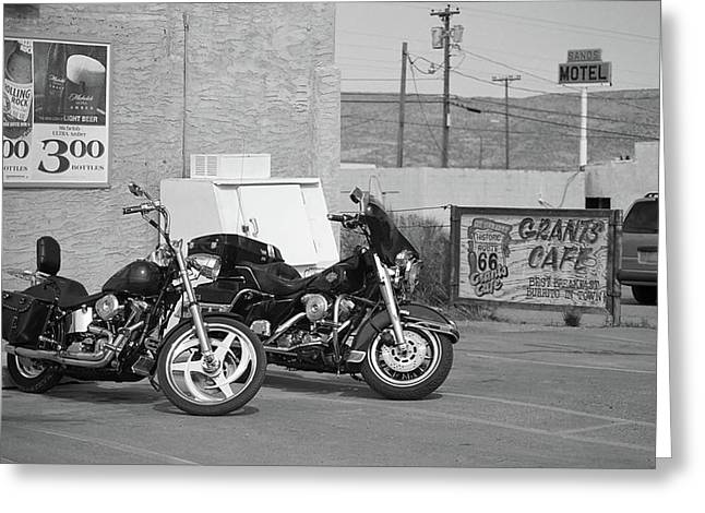 Bike Trip Greeting Cards - Route 66 Motorcycles Greeting Card by Frank Romeo
