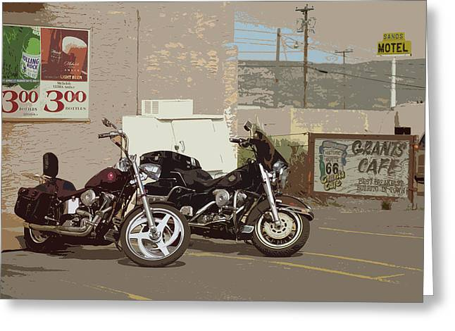 Saloons Mixed Media Greeting Cards - Route 66 Motorcycles with a Dry Brush Effect Greeting Card by Frank Romeo