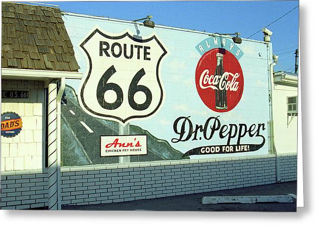 Coca-cola Mural Greeting Cards - Route 66 - Mural with Shield Greeting Card by Frank Romeo