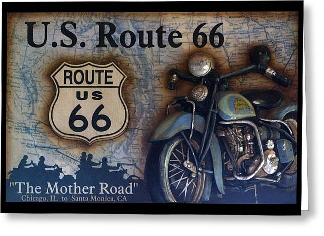 Photography By Tom Woolworth Greeting Cards - Route 66 Odell IL Gas Station Motorcycle Signage Greeting Card by Thomas Woolworth
