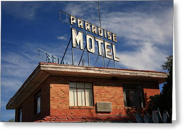 Paradise Road Greeting Cards - Route 66 - Paradise Motel 1 Greeting Card by Frank Romeo