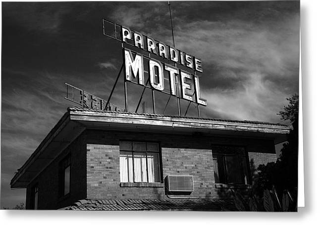 Paradise Road Greeting Cards - Route 66 - Paradise Motel 2 Greeting Card by Frank Romeo