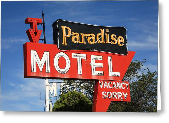 Paradise Road Greeting Cards - Route 66 - Paradise Motel Greeting Card by Frank Romeo