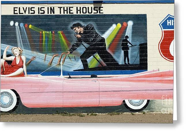 Sights Along Route 66 Greeting Cards - Route 66 Pink Cadillac 1 Greeting Card by Bob Christopher