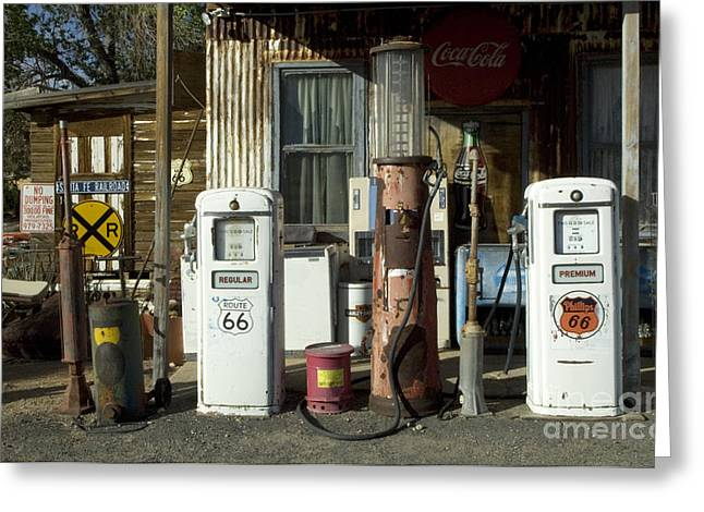 Sights Along Route 66 Greeting Cards - Route 66 Pumps Greeting Card by Bob Christopher