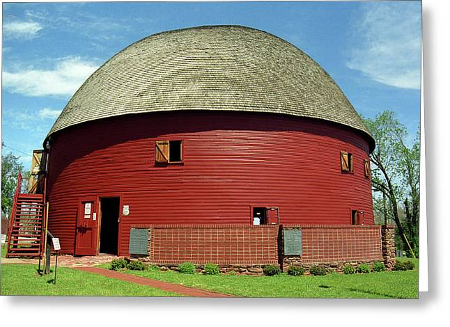 Barn Dance Greeting Cards - Route 66 - Round Barn Greeting Card by Frank Romeo
