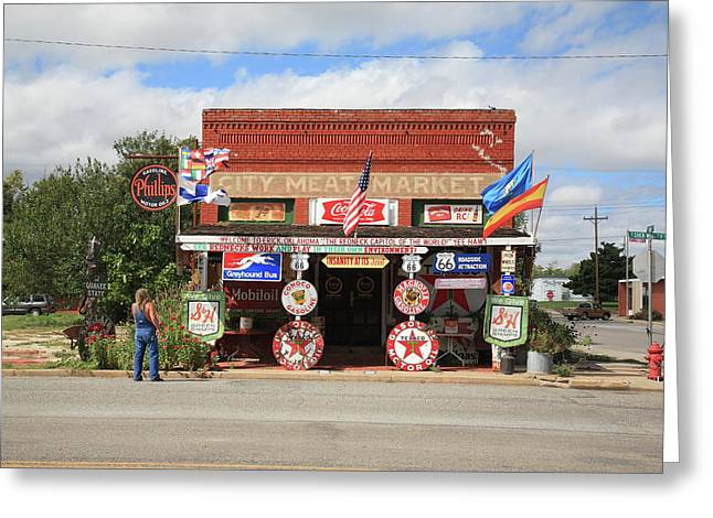 Best Sellers -  - Historic Country Store Greeting Cards - Route 66 - Sandhills Curiosity Shop Greeting Card by Frank Romeo