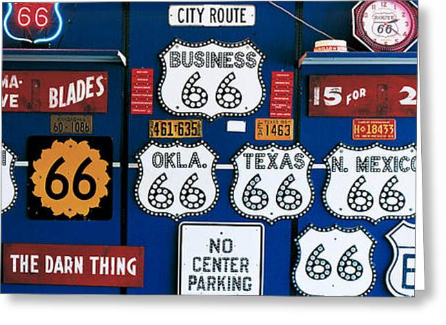 Road Trip Photographs Greeting Cards - Route 66 Sign Collection Greeting Card by Panoramic Images