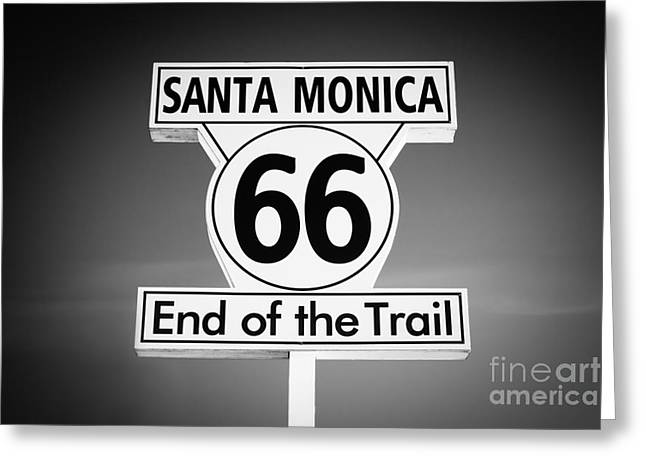 Route 66 Sign in Santa Monica in Black and White Greeting Card by Paul Velgos