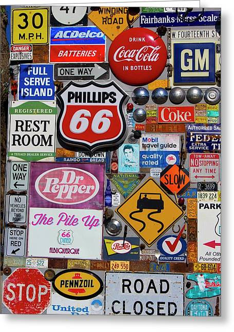 Route 66 Signage Display Greeting Card by Mark Williamson