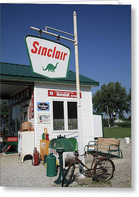 Bicycle Kick Greeting Cards - Route 66 - Sinclair Station Greeting Card by Frank Romeo