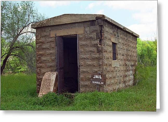 Police Art Greeting Cards - Route 66 - Texola Jail Greeting Card by Frank Romeo