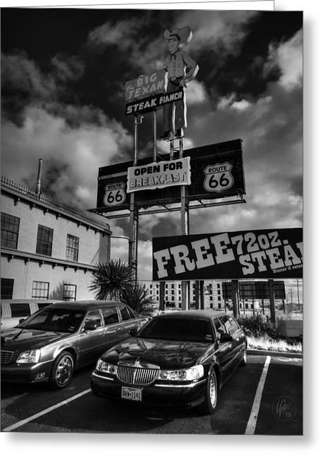 Limo Greeting Cards - Route 66 - The Big Texan 001 BW Greeting Card by Lance Vaughn