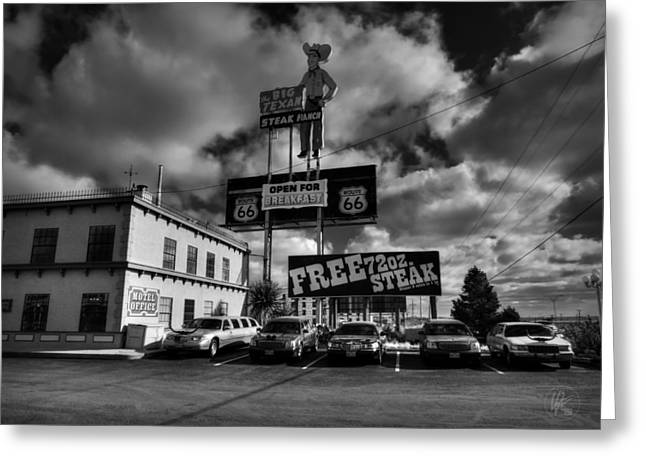 Limo Greeting Cards - Route 66 - The Big Texan 002 BW Greeting Card by Lance Vaughn
