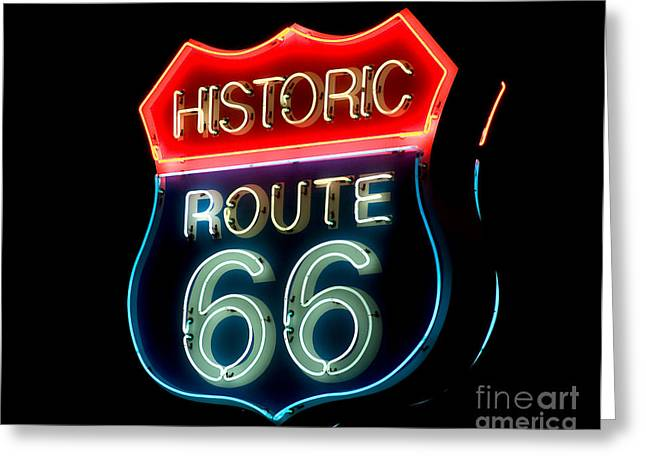 Route 66 Greeting Card by Theodore Clutter