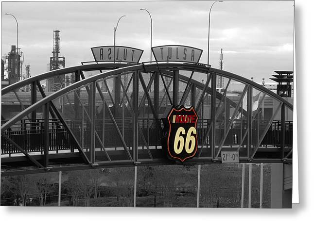 Oklahoma Landscape Greeting Cards - Route 66 Tulsa Sign Bw Splash Greeting Card by Tony Grider
