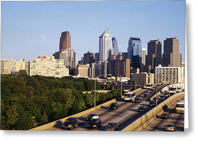 Pa Greeting Cards - Route 76 Skyline Philadelphia Pa Usa Greeting Card by Panoramic Images