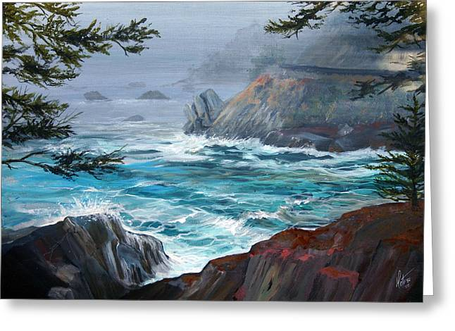 Pch Paintings Greeting Cards - Route One The Rocky Road Greeting Card by Gregory Peters