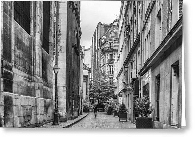 Buildings And Narrow Lanes Greeting Cards - Route Parisian Greeting Card by Nomad Art And  Design