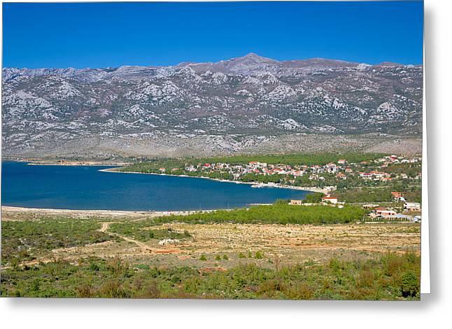 Panoramic Ocean Greeting Cards - Rovanjska bay village and Velebit mountain Greeting Card by Dalibor Brlek