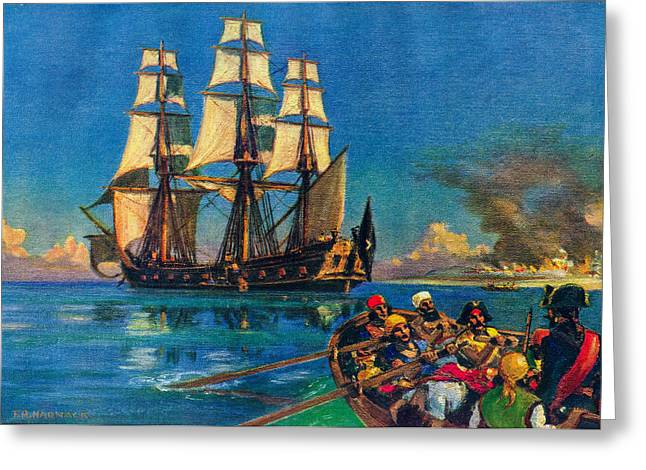 Tall Ships On Water Greeting Cards - Rovers of the Main Greeting Card by Unknown