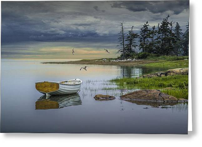 Randy Greeting Cards - Row Boat by Mount Desert Island Greeting Card by Randall Nyhof