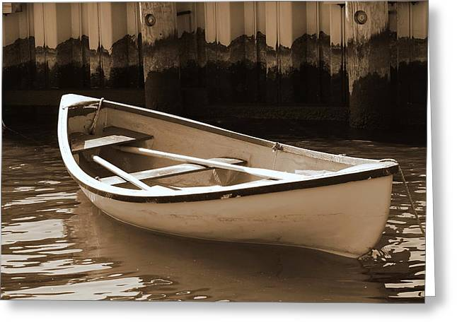 Tidal Photographs Greeting Cards - Row Boat in Sepia Greeting Card by Francie Davis