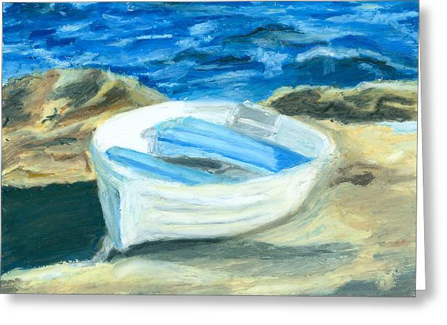 Maine Shore Greeting Cards - Row Boat in York Maine Greeting Card by Dominic White