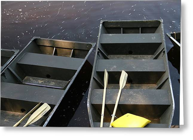 Row Boat Greeting Cards - Row Boats and Paddles Greeting Card by Dan Sproul