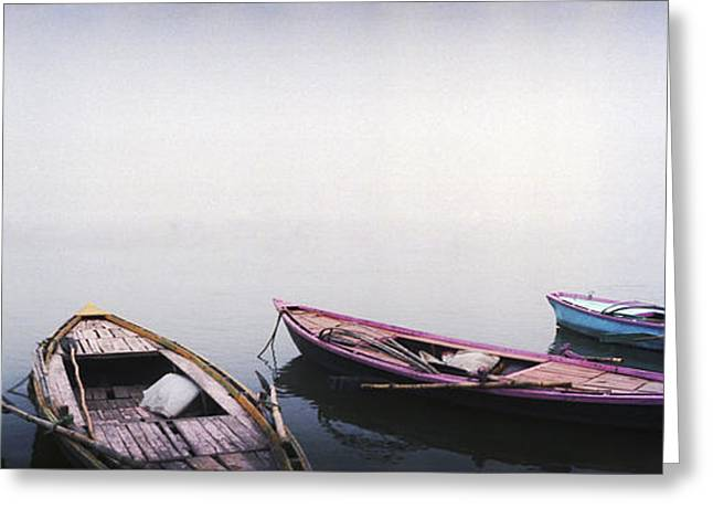 Reflections In River Greeting Cards - Row Boats In A River, Ganges River, Varanasi, Uttar Greeting Card by Panoramic Images