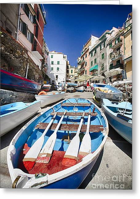 Boats In Harbor Greeting Cards - Row Boats of Riomaggiore Greeting Card by George Oze