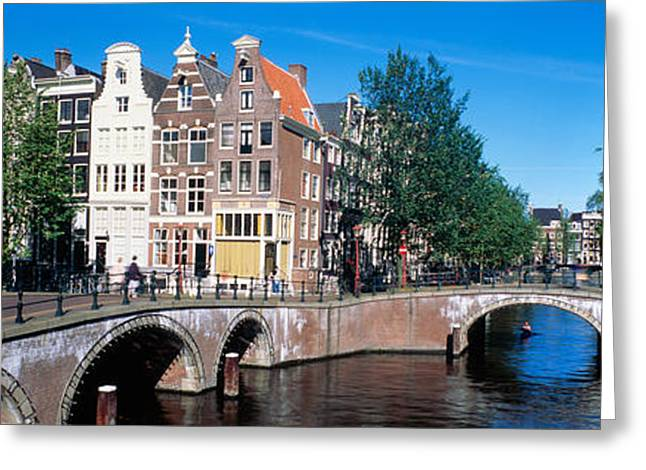 Tree Lines Greeting Cards - Row Houses, Amsterdam, Netherlands Greeting Card by Panoramic Images