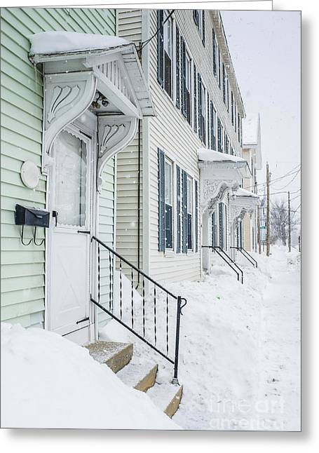 Townhouses Greeting Cards - Row houses on a snowy day Greeting Card by Edward Fielding