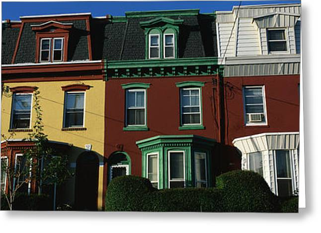 Main Street Greeting Cards - Row Houses Philadelphia Pa Greeting Card by Panoramic Images