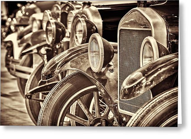 Ford Model T Car Greeting Cards - Row of ancient oldtimers in sepia Greeting Card by Martin Bergsma