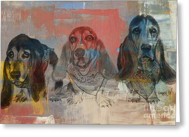 Row Of Basset Hounds Greeting Card by Michelle Wolff