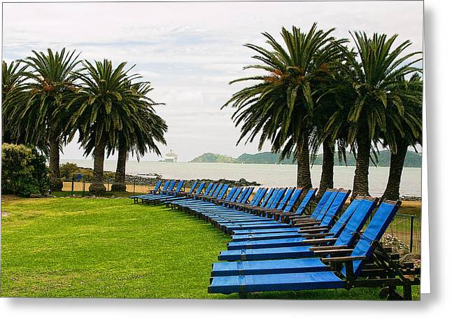 Lawn Chair Greeting Cards - Row of Blue Greeting Card by Linda Phelps